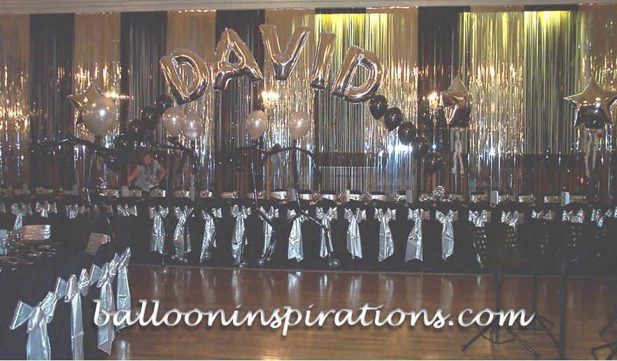 Black Silver Barmitzvah Decorations Ballooninspirationscom
