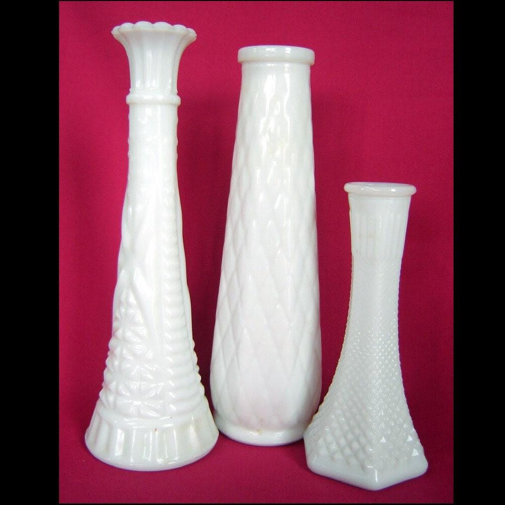 Three Vintage Milk Glass Vases