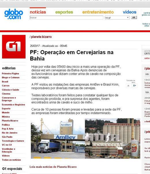 Falsa notícia diz que operação da PF foi feita em cervejarias | Foto: Reprodução
