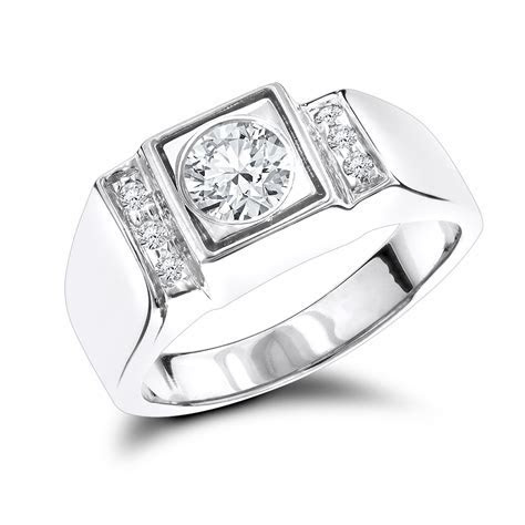 18K Gold One Carat Mens Diamond Engagement Ring Solitaire