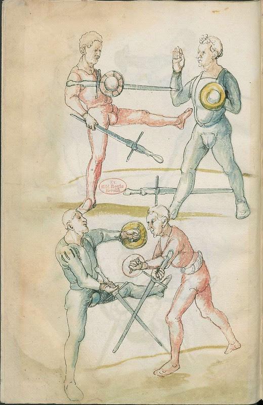 16th century sword fight manuscript drawing - Combat training 2