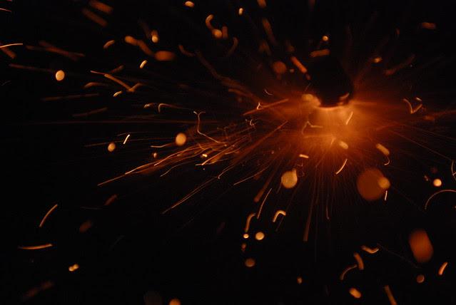 spark and fireworks