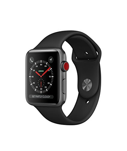 Apple watch series 3 Aluminum case Sport 42mm GPS + Cellular GSM unlocked (Space gray aluminum case with black sport band)