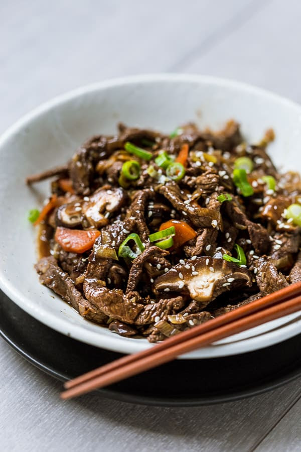 Bulgogi - Korean BBQ Beef with Shiitake Mushroom | Wandercooks