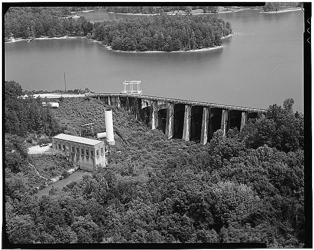 8.  Abbeville hydroelectric plant - Rocky River project: general aerial view of dam and power house - Abbeville Hydroelectric Power Plant, State Highway 284 & County Road 72, Rocky River (historical), Abbeville County, SC