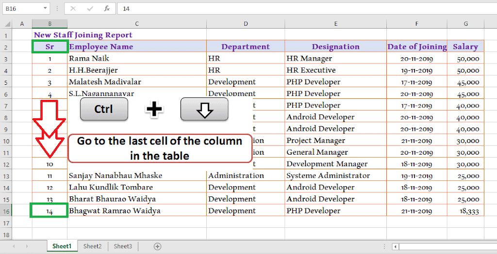 Ctrl + Down Arrow - Go to the last cell of the column 30 Excel shortcut keys that make Excel user friendly | Learn Excel Shortcut Keys in Details