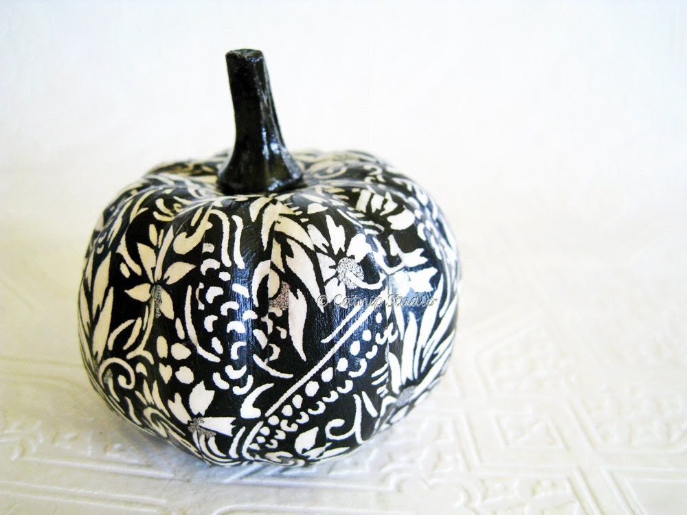Pumpkin Ornament, Squash Ornament, Halloween Ornament, decoupage ornament, black and white, floral fall autumn thanksgiving - CatnipStudioToo