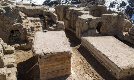 A courtyard of a Buddhist monastery at Mes Aynak.