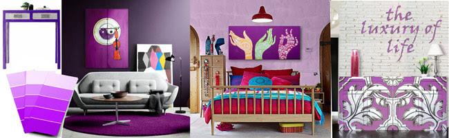 muebles violeta cuadros