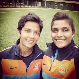 Jyoti with Indian Goalkeeper Aditi Chauhan