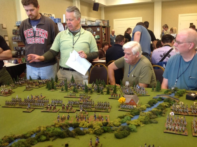 Doug gives pre-game instructions to the massive 28mm Napoleonic game