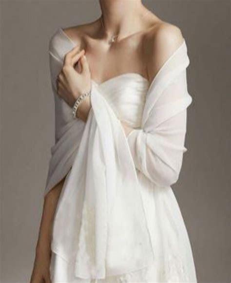 White/Ivory chiffon bridal wrap wedding shawl scarf cover
