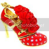 Ladies' High Heeled Pump Shoe Handmade Jeweled Enameled Metal Trinket Box