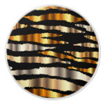 Gold and Black Metallic Zebra Stripes Ceramic Knob