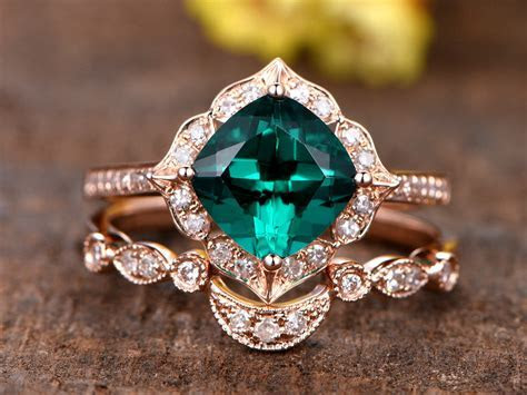 1.3ct cushion cut Treated Emerald engagement ring set,14k