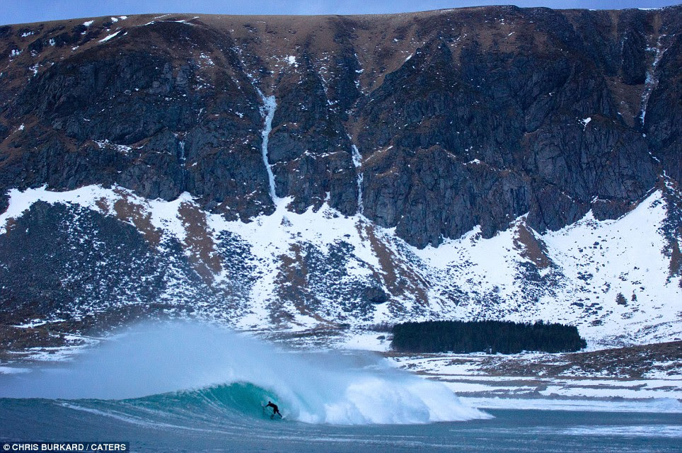 The clean powerful swells are rarely surfed in winter, when most people consider the water too cold to venture in to