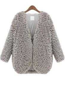 Grey V Neck Long Sleeve Faux Fur Coat