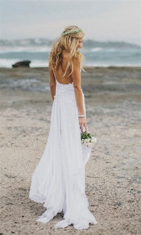 Stunning Low Back White Lace Wedding Dress, Dreamy Floaty