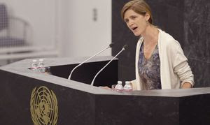 Samantha Power, une des harpies US, à la tribune de l'ONU