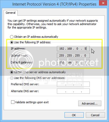 Cấu hình IP như trong hình