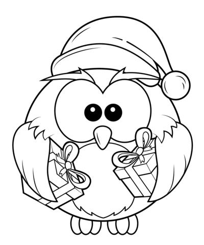 Coloriage Hibou De Noël Avec Des Coffrets Cadeaux Coloriages à
