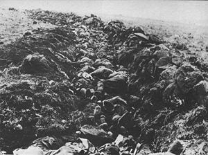 Killed British soldiers lying in trenches afte...