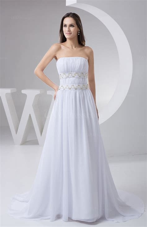 White Inexpensive Bridal Gowns Chiffon Beaded Cinderella