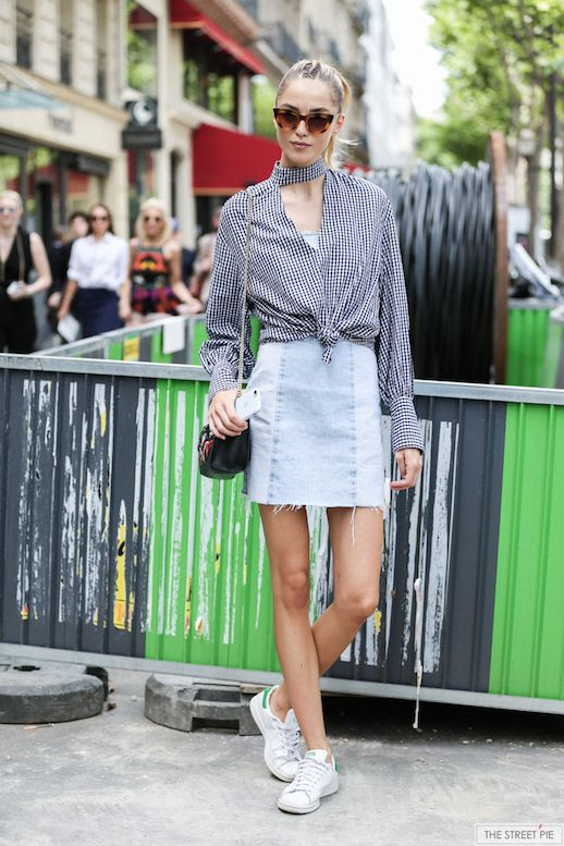 Le Fashion Blog Fashion Week Streetstyle Gingham Blouse Denim Mini Skirt White Sneakers Via The Street Pie
