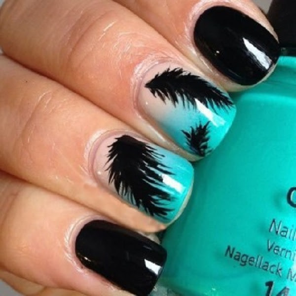 black-easy-to-do-feather-nail-art