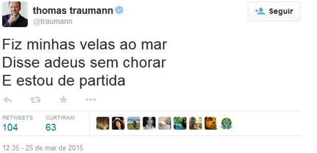 Após pedido de demissão, Thomas Traumann tuíta letra de Paulinho da Viola (Foto: Rerodução/ Twitter)