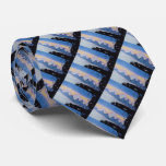 black leaf with pastel blue lilac abstract design tie
