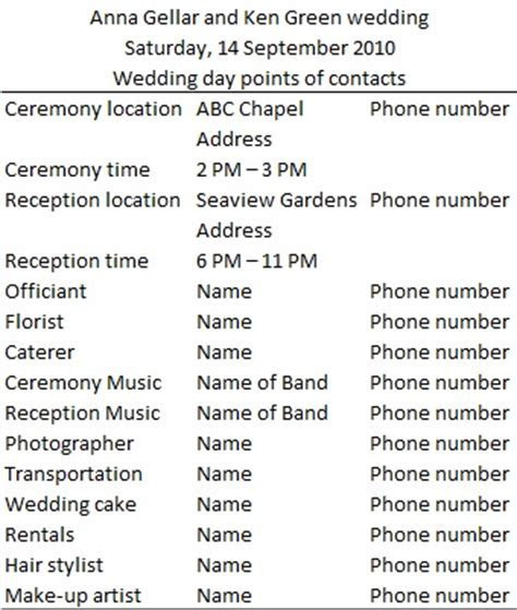 Wedding day timeline ? Sample and Template