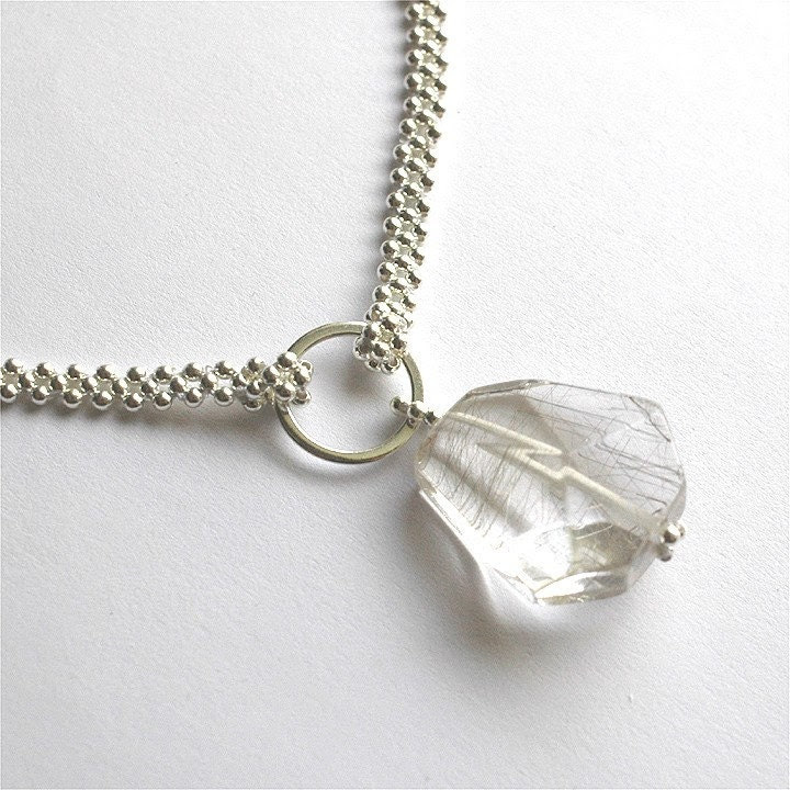 AAA rutilated quartz and sterling silver beadwoven necklace - silk and sterling