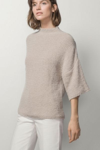 Massimo Dutti Short-Sleeved Sweater with Funnel Collar