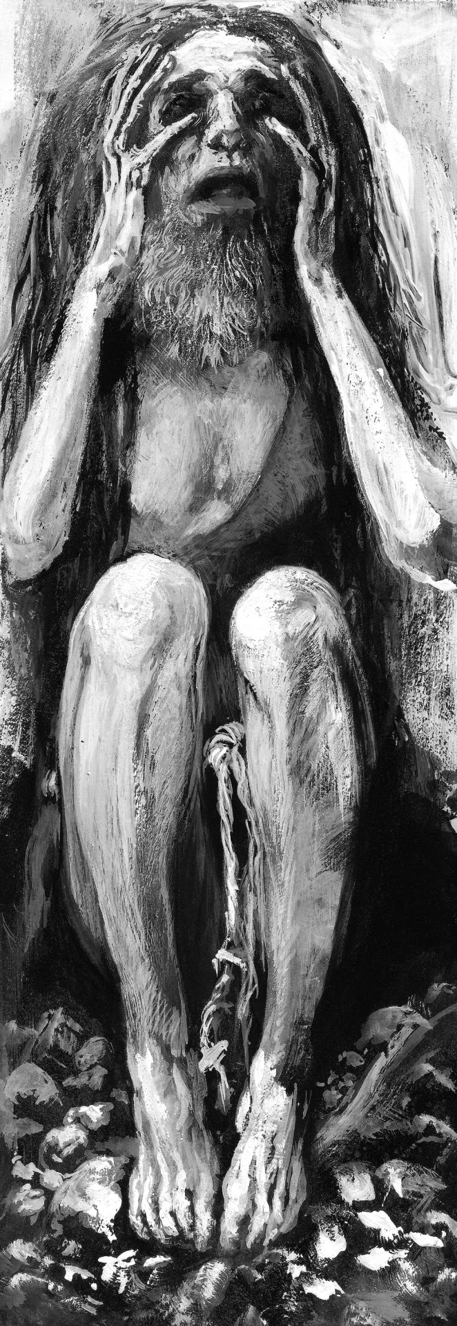 "Santiago Caruso / Study in gouache and tempera for ""La Tentation de Saint Antoine"" / 6cm x 19cm"