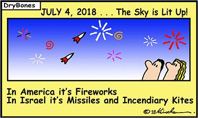 Dry Bones cartoon, Gaza, fires, kites, Palestinian Arabs,America's Independence Day, fireworks, missiles,