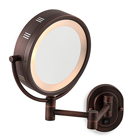 Buy Jerdon 5X/1X Bronze Lighted Hardwired Wall Mount ...