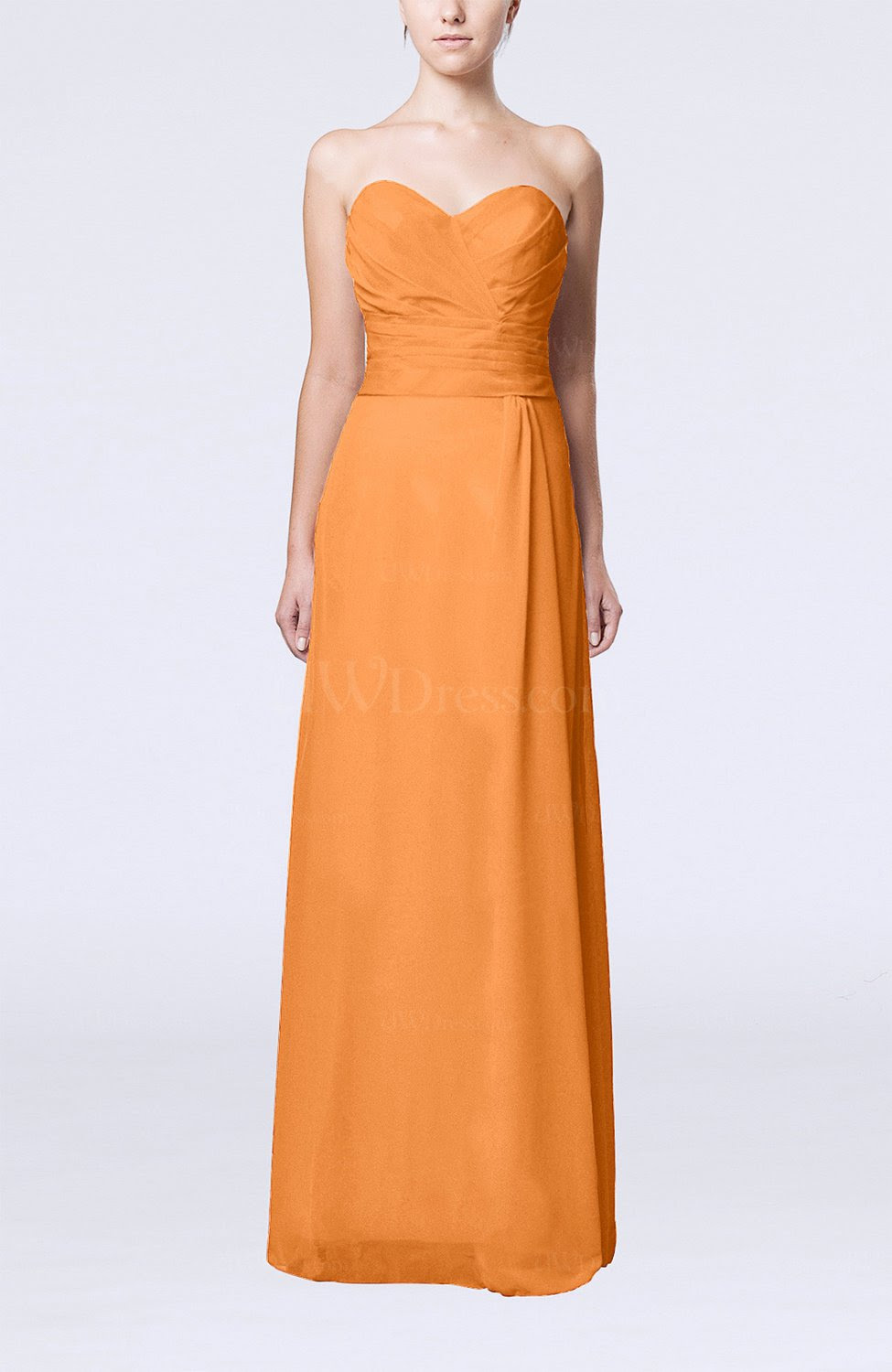 orange elegant column sweetheart sleeveless draped wedding