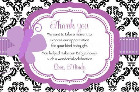 Damask Purple Butterfly Baby Shower Thank you Card Printable