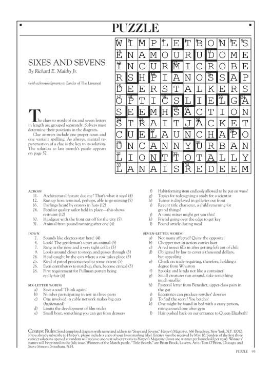 May 2013 Harpers cryptic crossword solution