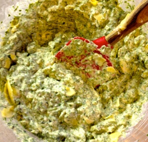 Mix Artichokes and Water Chestnuts in Spinach Dip