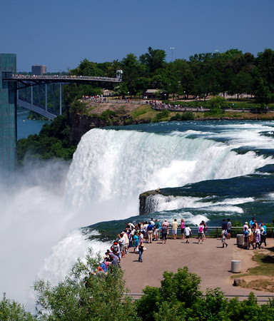 View down to Bridal Veil Falls and the American Falls