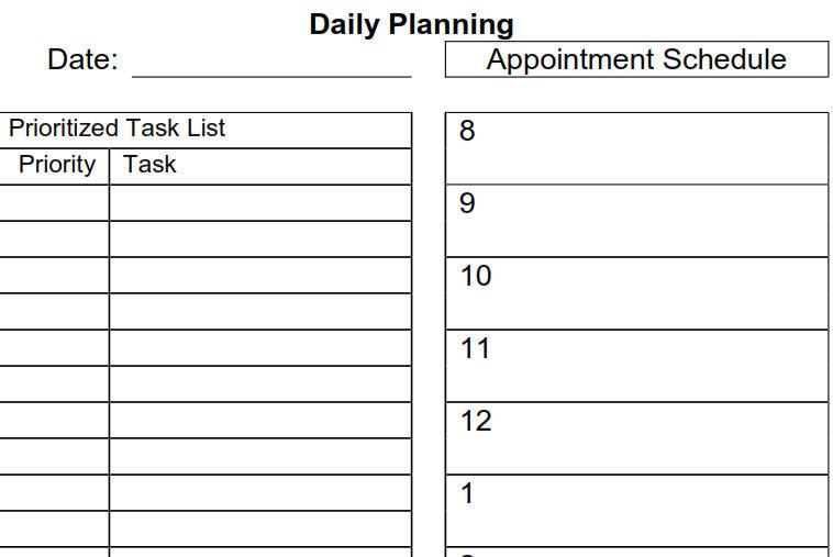 Daily Agenda Pdf | Daily Planner