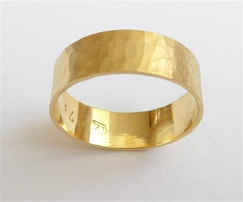 Yellow Gold Mens Wedding Band Women Wedding Ring Hammered