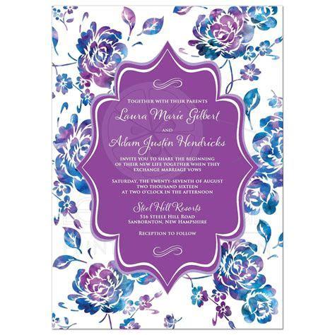 Wedding Invitation   Watercolor Floral   Purple, Teal