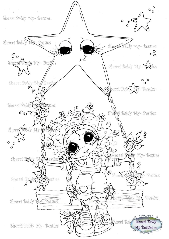 INSTANT DOWNLOAD Digital Digi Stamps Big Eye Big Head Dolls IMG213 Swinging on a Star  My Besties By Sherri Baldy