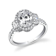 Adeline   Three Stone Halo Engagement Ring   Sylvie