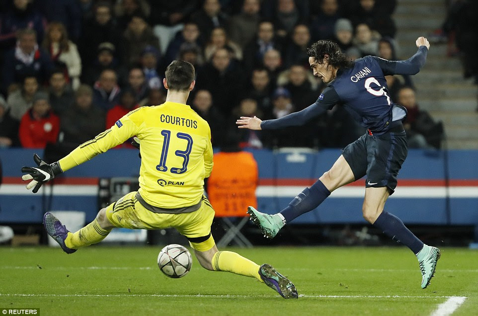 Cavani latches on to Angel di Maria's throughball to slide through Thibaut Courtois' legs and regain the lead for PSG