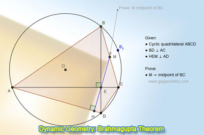 Dynamic Geometry: Brahmagupta Theorem, Cyclic Quadrilateral, Perpendicular Diagonals, Midpoint