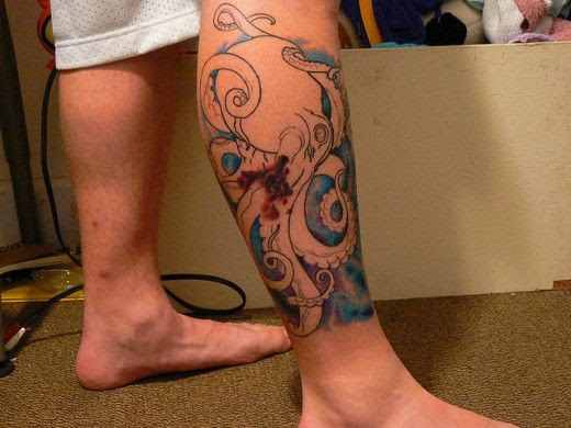 Black Simple Octopus Tattoo On Leg Tattoomagz